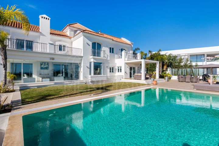 Landmark 9 bedroom villa with dramatic coastal views for sale in Los Flamingos, Benahavis