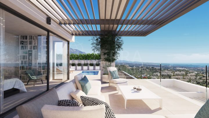 Off plan penthouse with rooftop solarium and private plunge pool for sale in Aqualina Collection, Benahavis