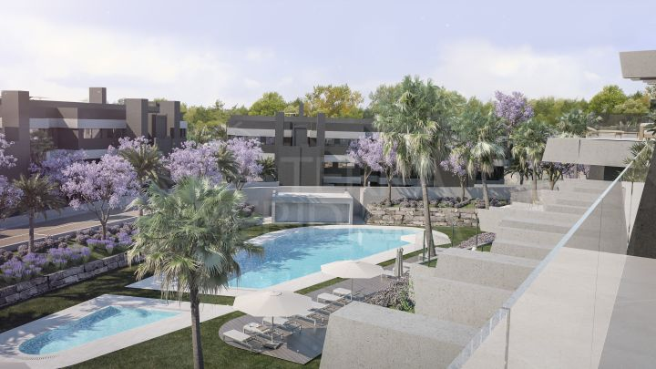 Modern ground floor apartment with private garden for sale in the new development of Oasis 325, La Resina Golf, Estepona