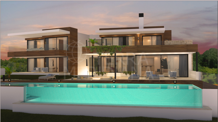 Brand new elegant and contemporary front-line golf villa for sale in Los Flamingos Golf, Benahavis