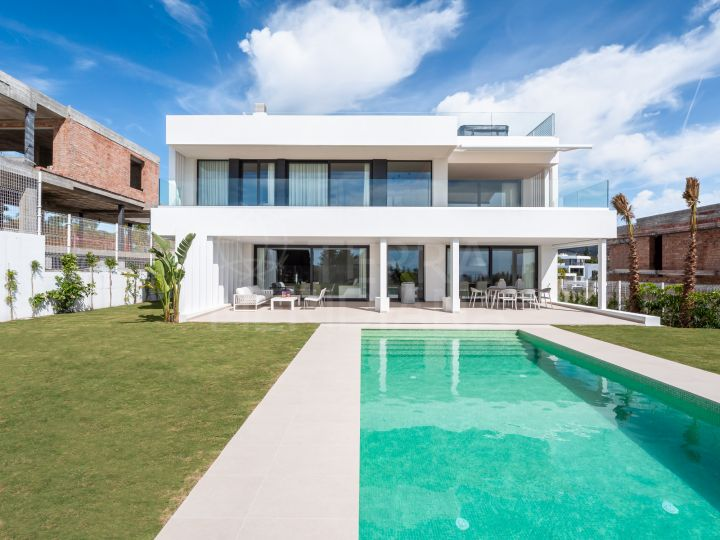 Brand new contemporary villa with superb sea views for sale in Cancelada, Estepona