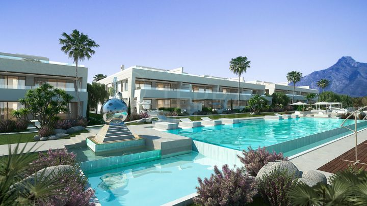 Off plan contemporary ground floor duplex with garden for sale in Epic Marbella, Golden Mile