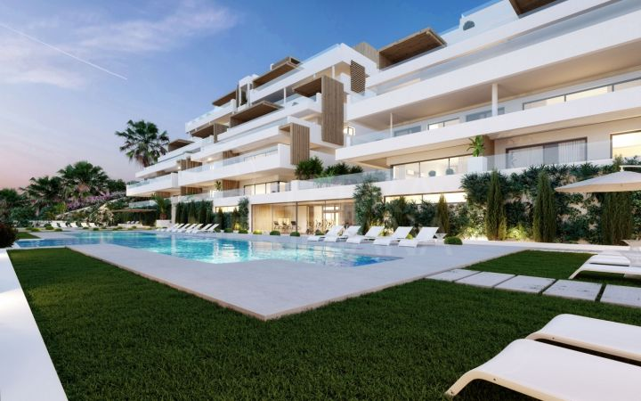 Off-plan modern second-floor apartment with spacious terrace within walking distance of the beach for sale in Alexia Life, Estepona town