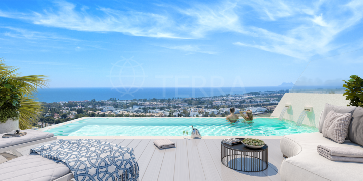 Brand new luxury villa with rooftop zero-edge pool for sale in the emblematic development of Celeste Marbella, Nueva Andalucia, Marbella
