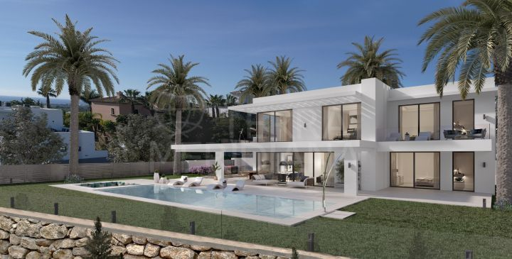 Off plan iconic modern villa with scenic vistas for sale in the highly coveted development of Los Flamingos Golf, Benahavis