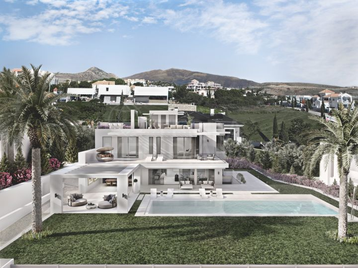 Off plan iconic contemporary villa with spa area for sale in the highly in demand development of Los Flamingos Golf, Benahavis