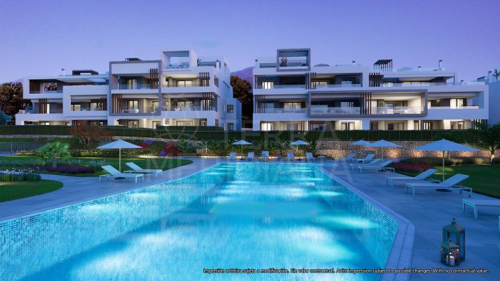 Gorgeous off plan ground floor apartment with private garden in a privileged setting for sale in Los Miradores del Sol, Estepona