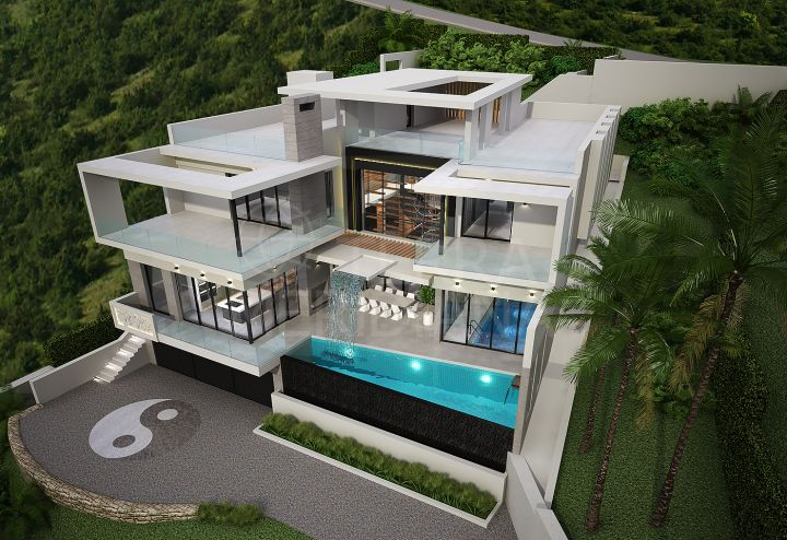 Project with half-finished structure and license to finish a contemporary luxury villa for sale in ultra-exclusive Monte Mayor, Benahavis