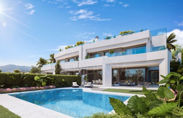 Off-plan semi-detached luxury townhouse with private pool for sale in Soul Marbella, Santa Clara