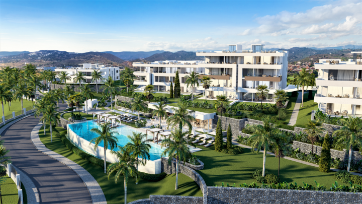 Off-plan ground floor luxury apartment with private garden for sale in Soul Marbella, Santa Clara, Marbella East