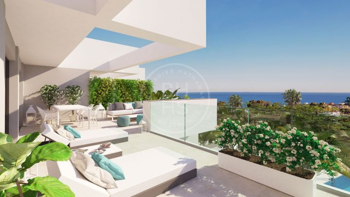 Stunning apartment on the lower level in an off-plan development with views to the Mediterranean Sea and the beaches of Manilva