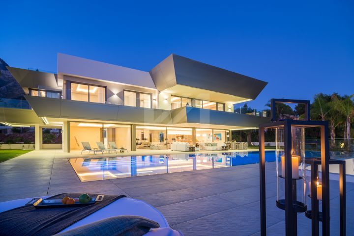 Brand new villa of unique contemporary design recently completed in the luxury gated community of Sierra Blanca, Marbella.