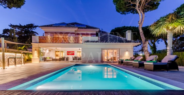 Cabopino, Marbella East, second line beach villa for sale with heated swimming pool
