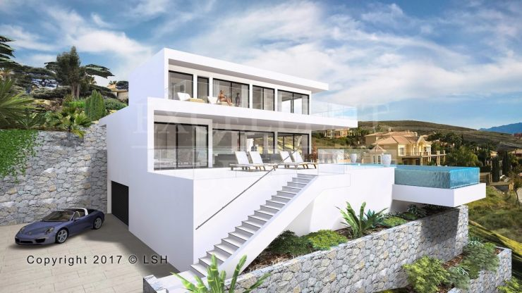 Contemporary villa under construction in Los Flamingos, Benahavis with panoramic sea views