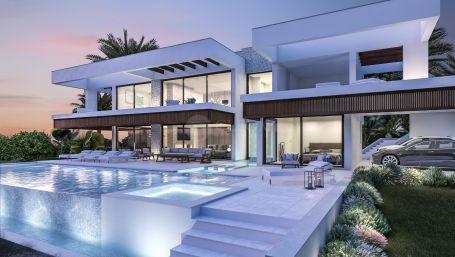 Contemporary villa under construction, for sale in Nueva Andalucia, Golf Valley