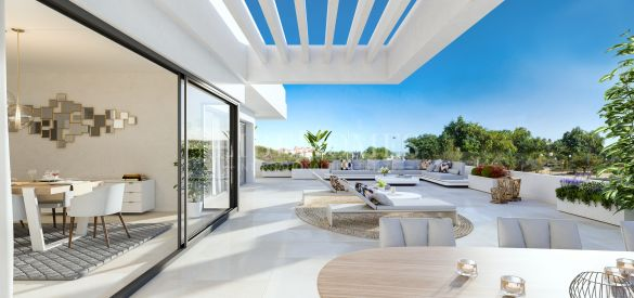 Key-ready, new penthouses with sea views in Estepona city center