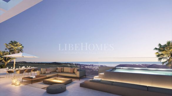 Golf frontline penthouses in a new development in Calanova, Mijas