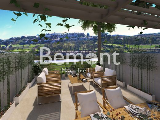 Contemporary frontline golf townhouse with views for sale in Estepona Golf, Marbella West, Spain