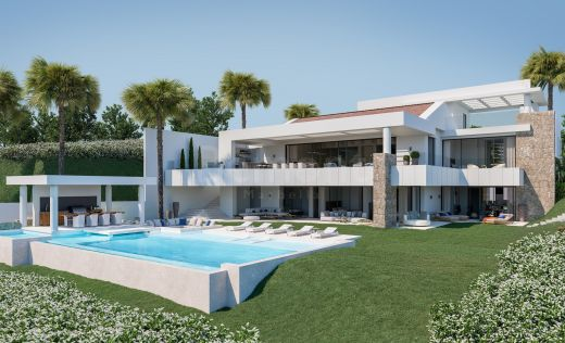 Luxury new build villa with sea views for sale in Los Flamingos Golf, Marbella West