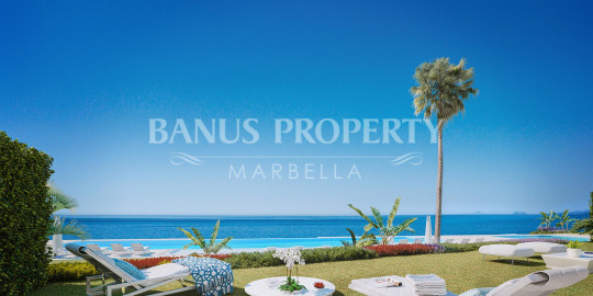 Marbella - Puerto Banus, New concept of three-bedroom frontline beach apartment for sale in the New Golden Mile.