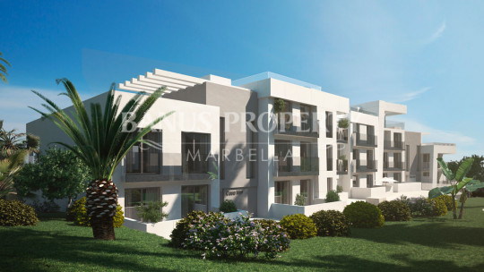 Marbella - Puerto Banus, Brand new luxury, contemporary two-bedroom apartment for sale with stunning views in Nueva Andalucía, just two minutes' drive to Puerto Banús