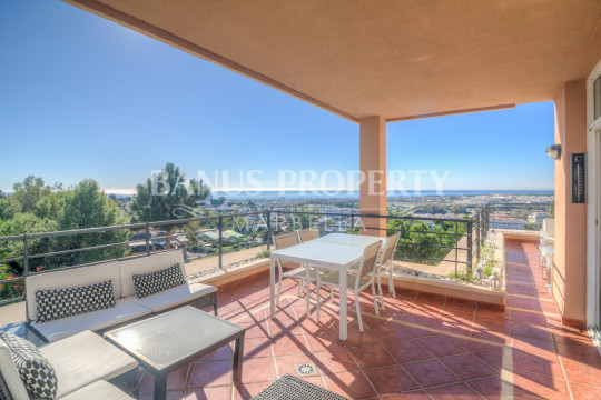 Nueva Andalucia, Modern three bedroom, second floor apartment with gorgeous elevated sea views for sale in Magna Marbella, just two kilometres from Puerto Banús