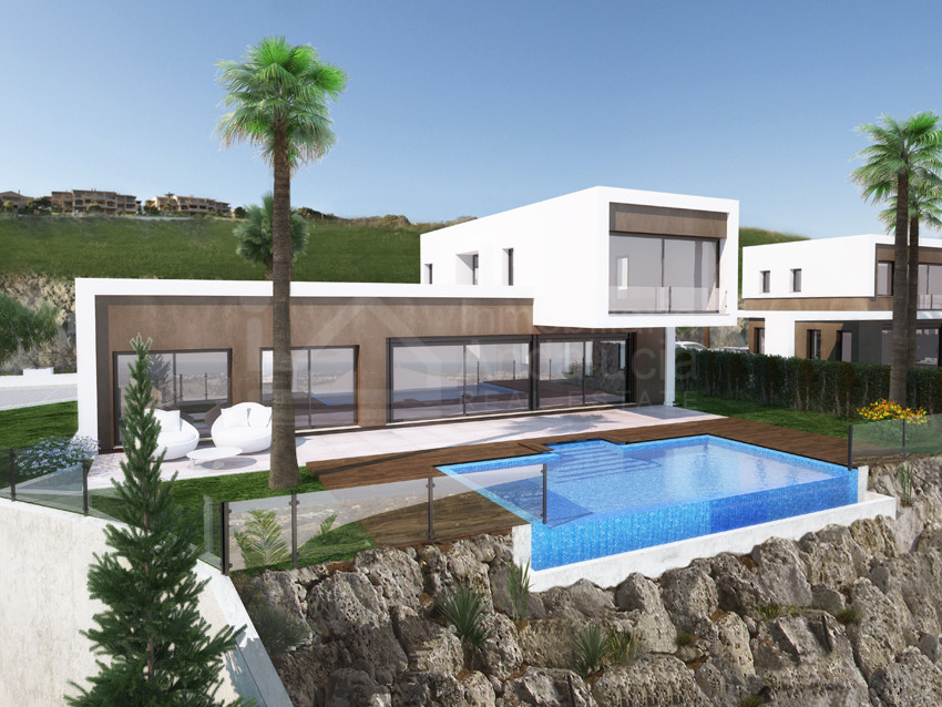 New contemporary 3 bed villa with incredible sea/golf views for sale in El Paraiso, Estepona