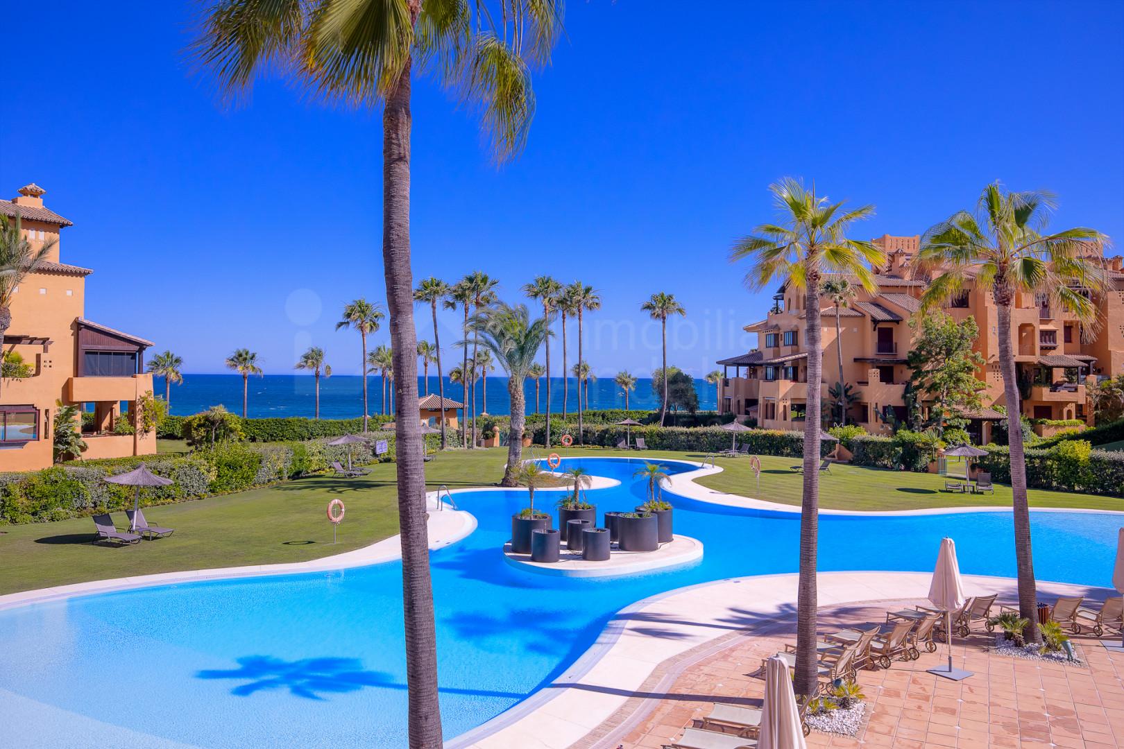 3 bedroom apartment  with sunny and bright terrace in The Frontline Beach complex Los Granados del Mar- Estepona