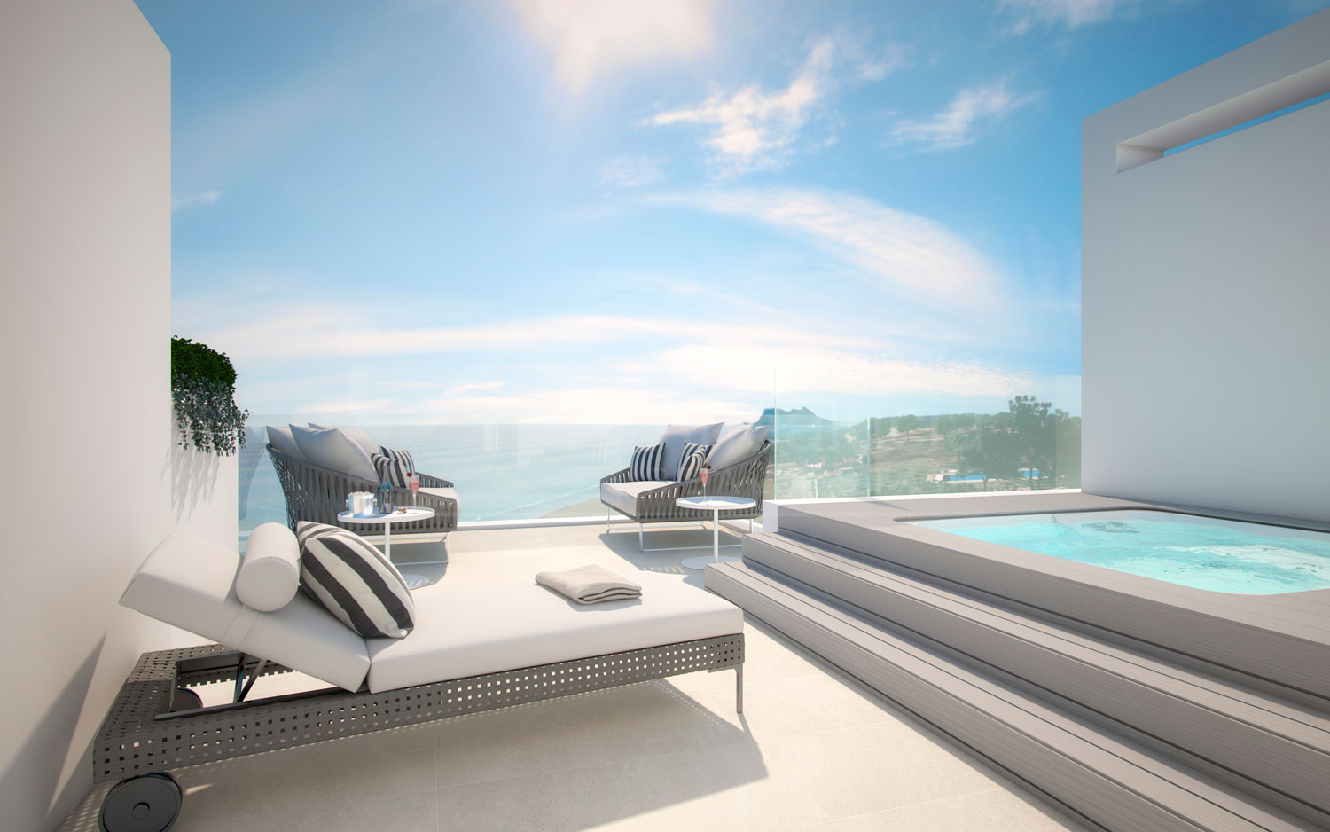 Contemporary four-bedroom beachfront townhouse for sale in Estepona