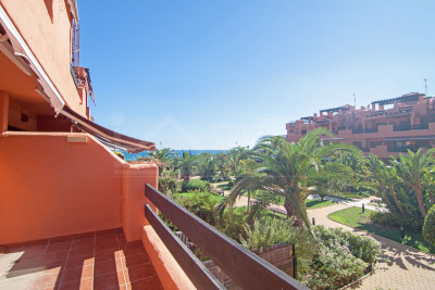 Estepona, Two bedroom first floor west facing apartment with sea views for sale in Playas del Angel, Estepona
